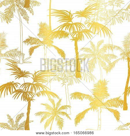 Vector Golden Palm Trees Summer Seamless Pattern Background. Great for tropical vacation fabric, cards, wedding invitations, wallpaper. Surface pattern design.