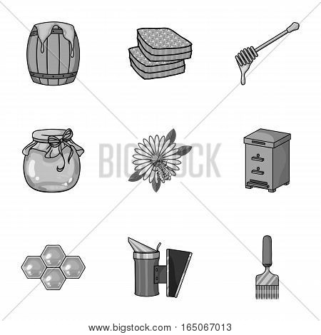 Apiary set icons in monochrome style. Big collection of apiary vector symbol stock