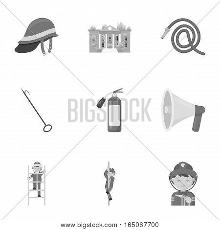Fire department set icons in monochrome style. Big collection of fire department vector symbol stock