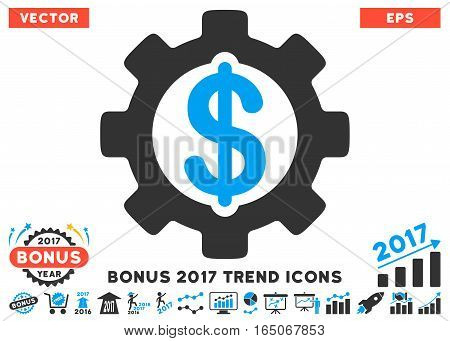 Blue And Gray Development Cost icon with bonus 2017 trend pictures. Vector illustration style is flat iconic bicolor symbols white background.