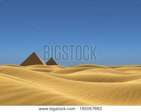 Low poly landscape beauty desert  illustration render