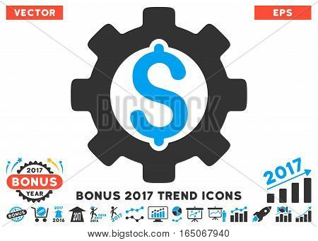 Blue And Gray Development Cost pictogram with bonus 2017 year trend elements. Vector illustration style is flat iconic bicolor symbols white background.