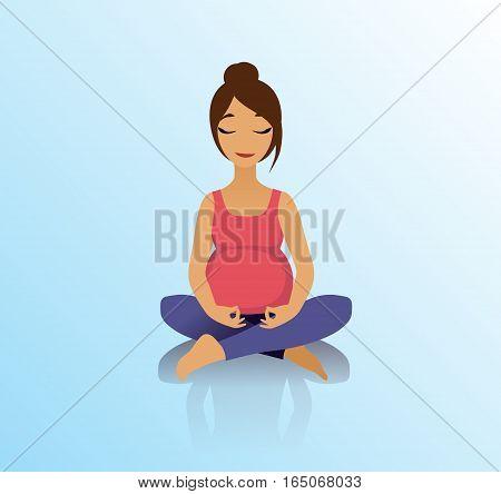 Yoga for pregnant women. Yoga asana lotus pose. Healthy lifestyle. Vector illustration