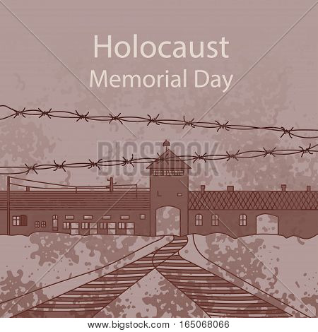 Holocaust Memorial Day. Entrance gate to Auschwitz Birkenau. Vector illustration