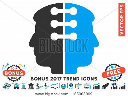 Blue And Gray Dual Head Interface pictogram with bonus 2017 year trend pictures. Vector illustration style is flat iconic bicolor symbols white background.