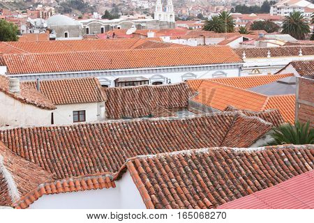 Orange terracotta tile roofs in Sucre Bolivia