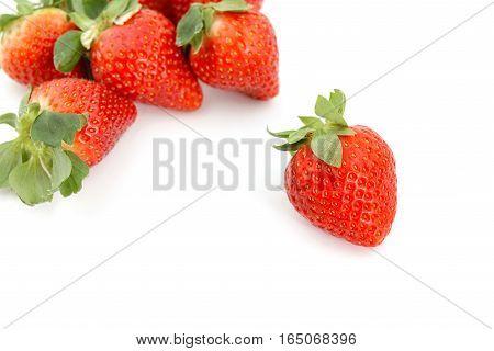 Group Of Fresh Strawberry On White Background