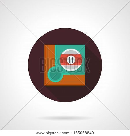 Single pool ball with red stripe and number 11 on green table near a corner hole. Aiming for shot. Billiard game concept. Round flat design vector icon.