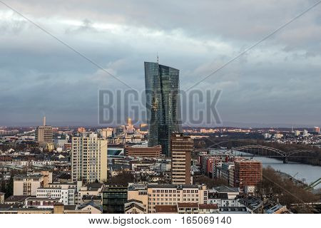 New Headquarters Of The European Central Bank Or Ecb. Frankfurt, Skyline