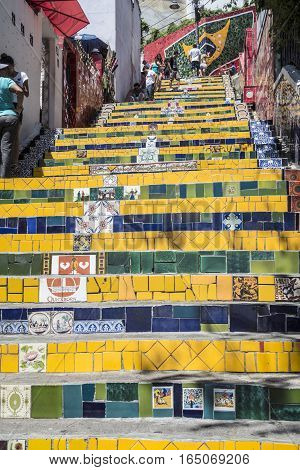 People At The Selaron Steps Connecting Lapa And Santa Teresa  In Rio