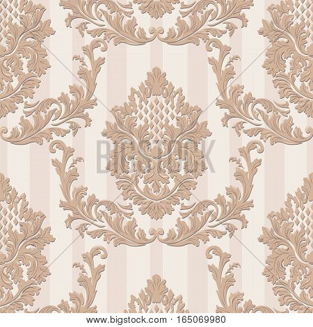 Vintage Vector Luxury Baroque card. Damask ornamented decor. Royal Victorian poster for wedding, greetings, events, celebration, anniversary. Trendy fall color