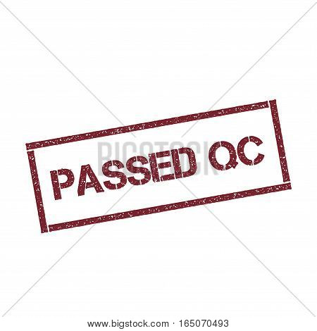Passed Qc Rectangular Stamp. Textured Red Seal With Text Isolated On White Background, Vector Illust