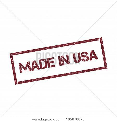 Made In Usa Rectangular Stamp. Textured Red Seal With Text Isolated On White Background, Vector Illu