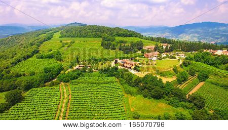 Aerial View Of Tenuta Coffele, An Old Farmhouse In The Hills Around Soave, Italy.