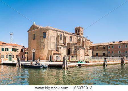 Church Of Saint Dominic Built On An Island In Chioggia, Italy.