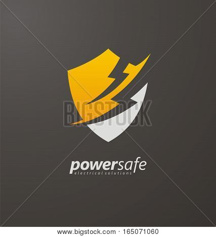 Power safe creative logo design concept with shield shape and flash bolts in negative space. Unique symbol, icon, sign or emblem template on dark background.