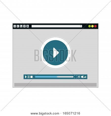 video player with play button over white background. entertainment and technology concept. colorful design. vector illustration