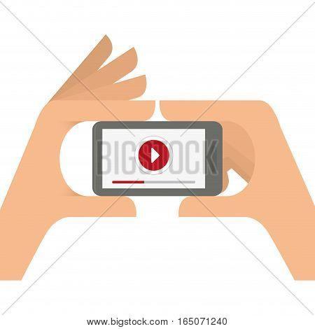 hand holding a smartphone device with video player button on screen over white background. entertainment and technology concept. colorful design. vector illustration