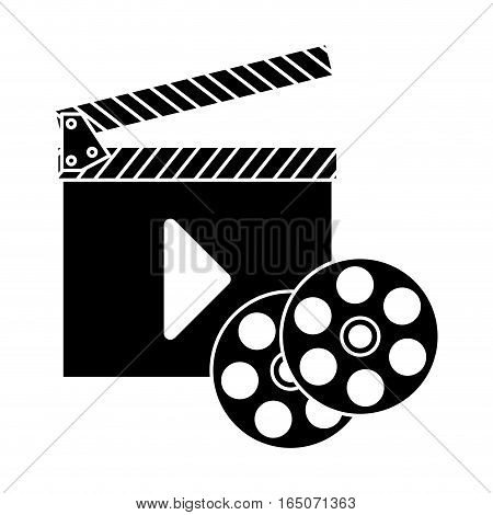 clapboard with play button and film reel icon over white background. entertainment and technology design. vector illustration