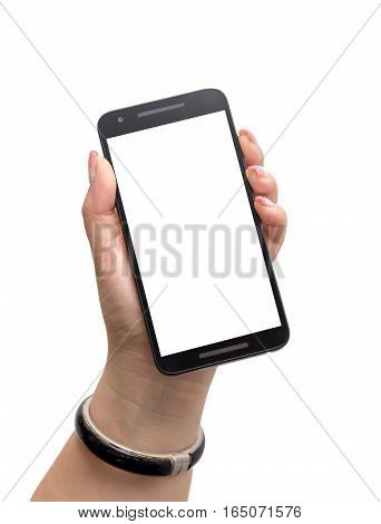 Isolated female hand with manicured fingernails holding a black smartphone