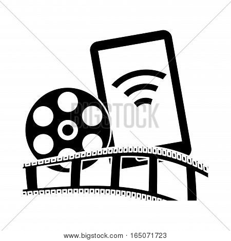 smartphone with film strip and reel icon over white background. entertainment and technology design. vector illustration