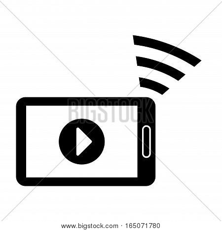 smartphone device with play button on screen over white background. entertainment and technology design. vector illustration