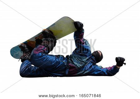 man jumping on snowboard isolated on white background