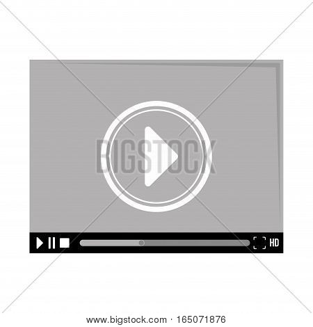video player with play button over white background. entertainment and technology design. vector illustration