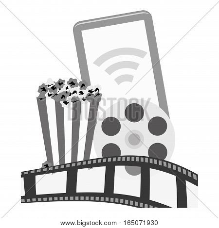 smartphone device with pop corn and film strip icon over white background. entertainment and technology design. vector illustration
