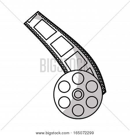 film strip and reel icon over white background. entertainment and technology design. vector illustration