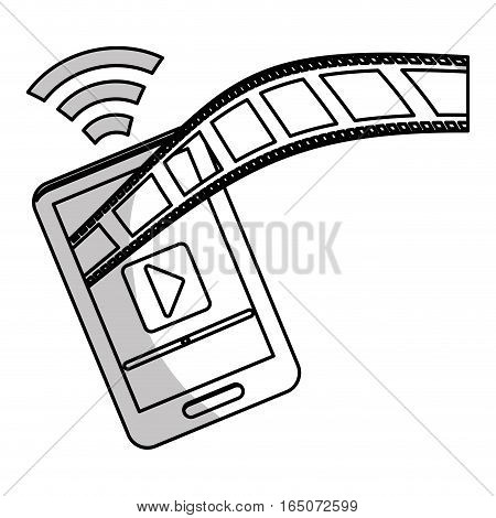 smartphone and film strip icon over white background. entertainment and technology design. vector illustration