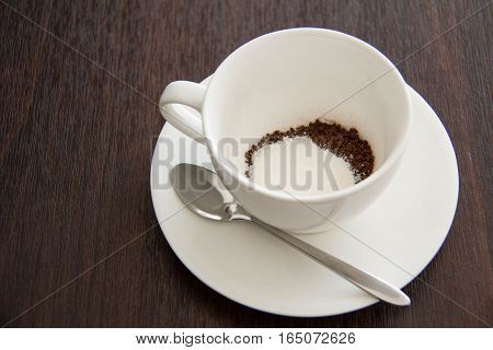 coffee cup view on white wood table background
