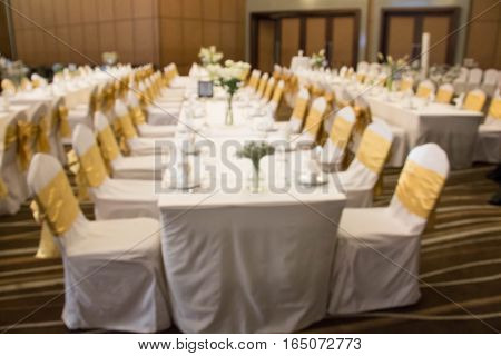 setup table banquet Wedding style in the hotel