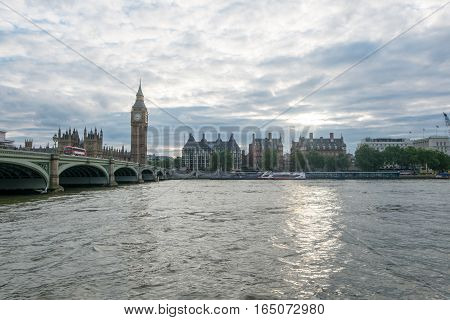 London, United Kingdom - July 25, 2016 : View Of The Big Ben, The Houses Of Parliament And Westminst