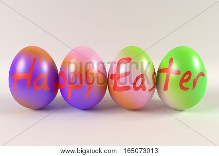 rendered colorful easter eggs with Happy Easter inscription, 3d rendering