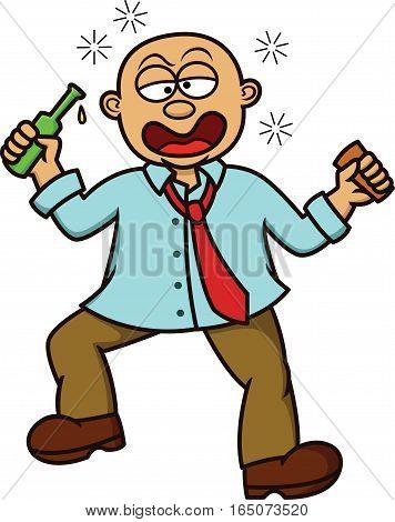 Bald Man Drunk Cartoon Illustration Isolated on White