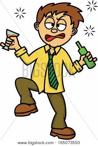 Drunk Man Cartoon Illustration Isolated on White