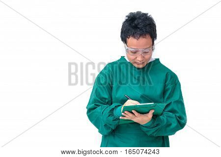 Asian Surgeon Man With Protective Clothing Filling The Medical Record,medical And Health Care Concep