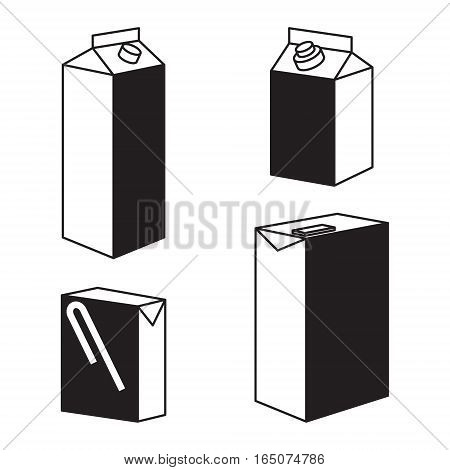 Juice milk blank white carton boxes packages isolated icons vector illustration