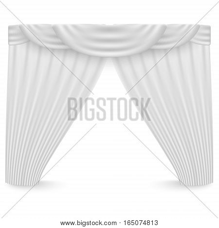 White curtains on a white background. Vector illustration