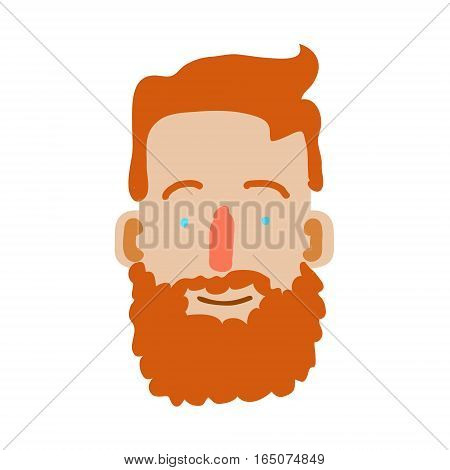 Cartoon Human Face isolated on white. Vector illustration