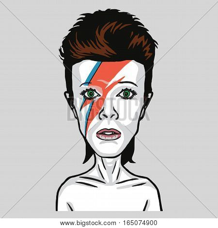 David Bowie Pop Art Vector Portrait Illustration. January 14, 2017