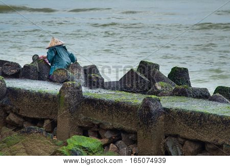 A rocky pier covered in green moss with the ocean beyond and a vietnamese woman working.