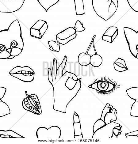 Monochrome Fashion patch badges seamless pattern. Lips, kissing, open mouth, hearts, hands. Vector illustration of sweet girl patches isolated. Set of textile stickers pins. 80 90 comic style