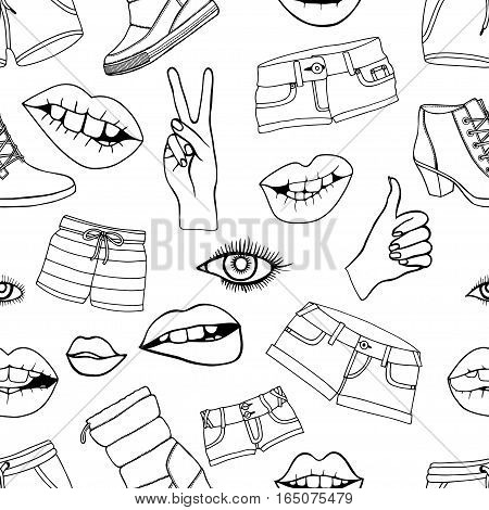 Monochrome Seamless pattern with fashion patch badges. Vector background with stickers, pins, patches in cartoon 80s-90s comic style.
