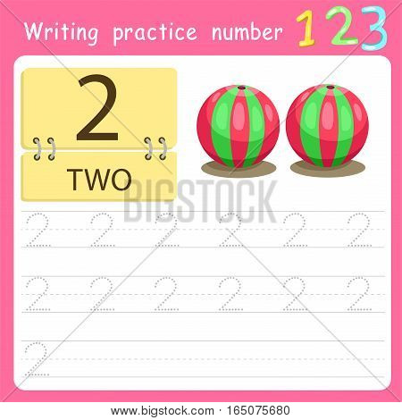 worksheet Writing practice number two for kid