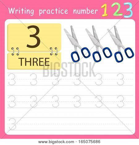 worksheet Writing practice number three for kid
