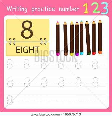 worksheet Writing practice number eight for kid