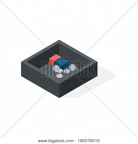 Donation charity tin with a slot for coins and a hole for notes. Cash box isometric currency isolated business wealth. Storage flat security coin financial container concept vector.