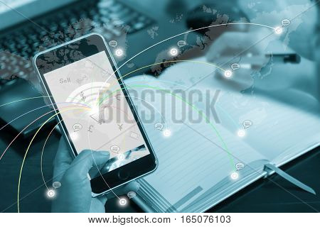 Online Business Concept, Buying, Selling, Shopping. The Businessman Clicks On Mobile Touch Screen. E